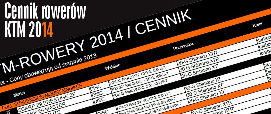 Rowery KTM 2014 - Ceny