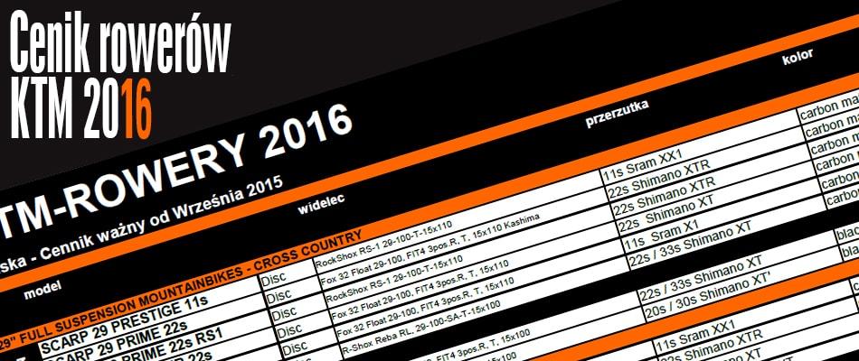 Cennik KTM 2016 Rowery